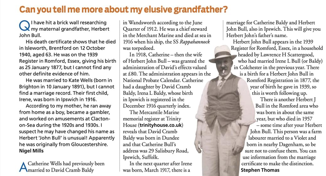 an article from WDYTYA magazine about finding an elusive ancestor